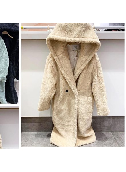 HOODED TEDDY COAT BEIGE