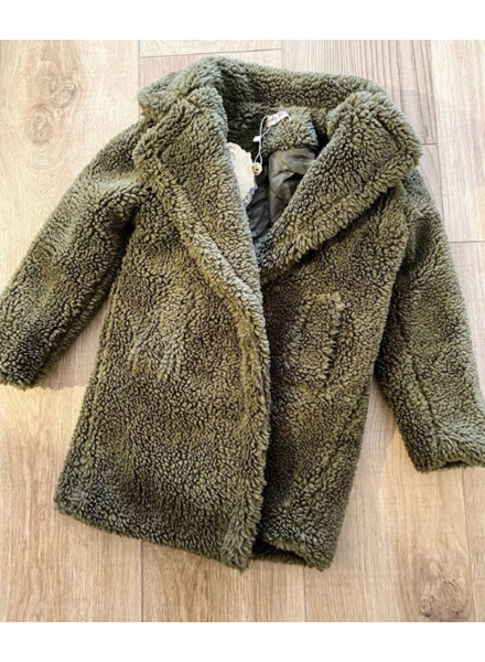 KIDS TEDDY COAT ARMY