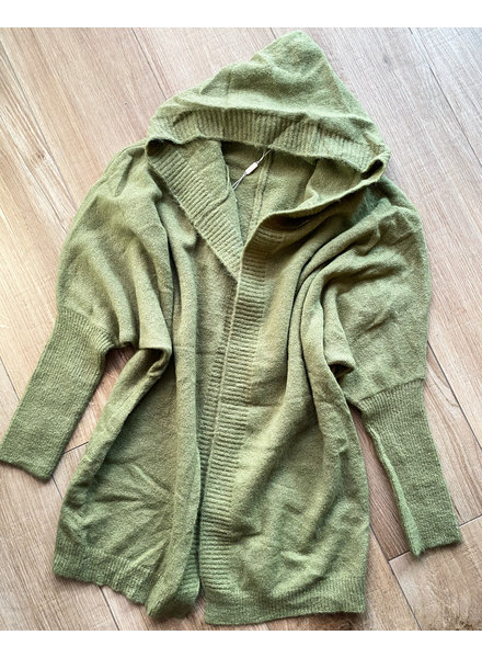 HOODED GREEN CARDIGAN