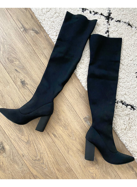HIGH KNEE SOCK BOOTS BLACK