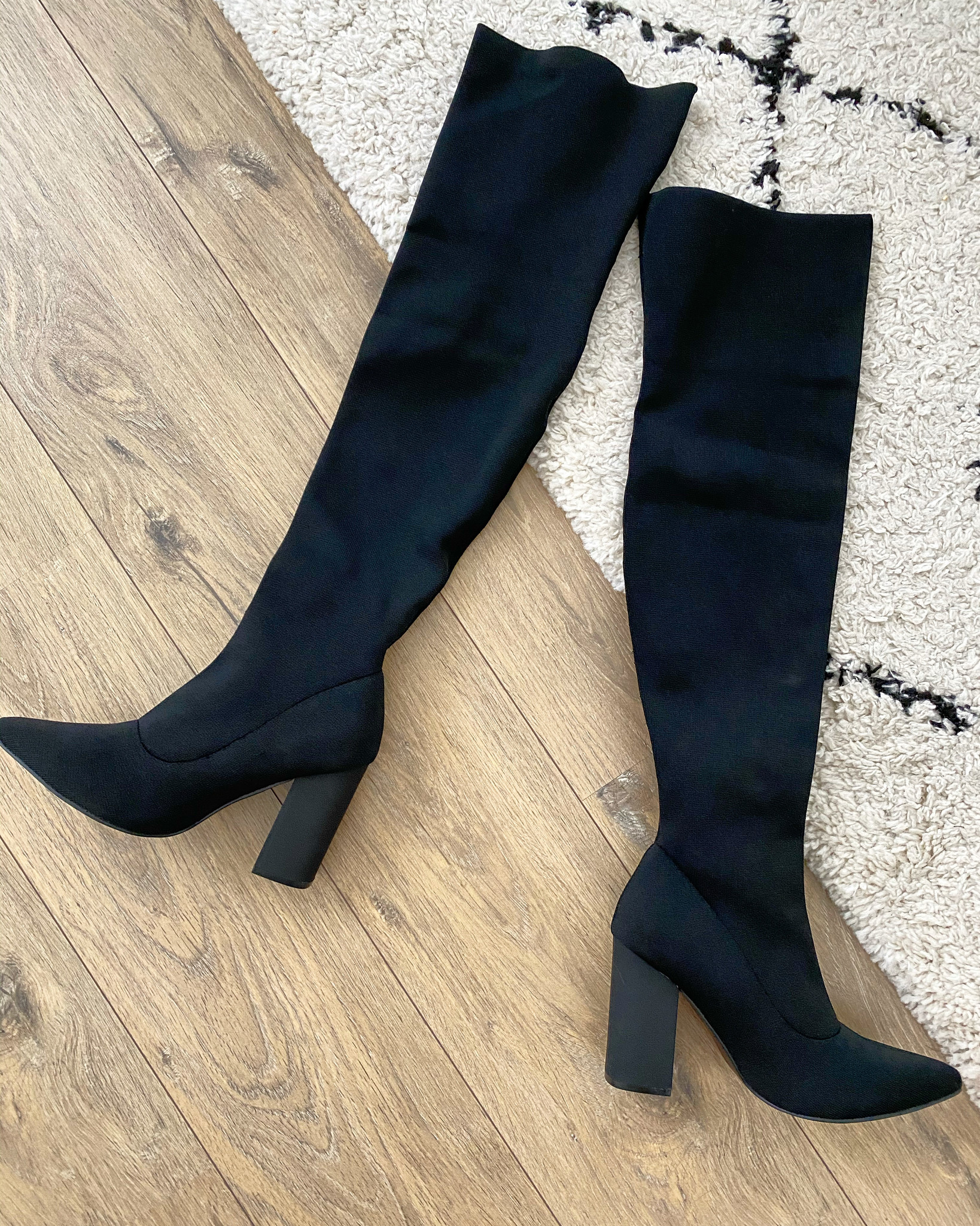 HIGH KNEE SOCK BOOTS BLACK