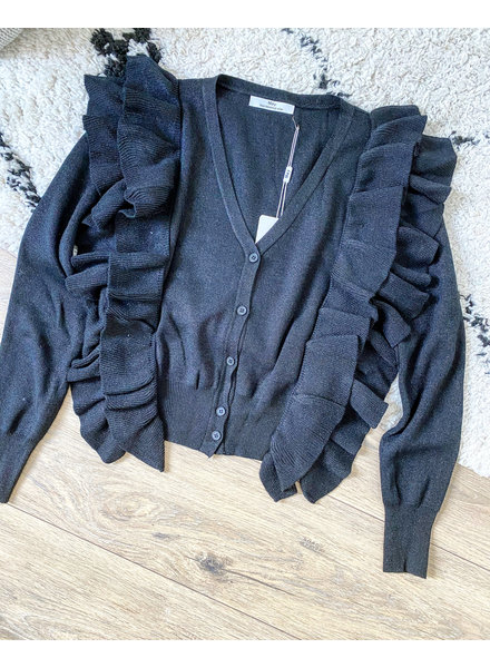 RUFFLE CARDIGAN BLACK