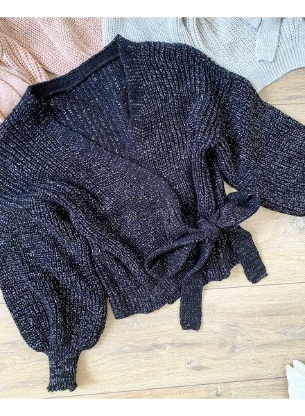 LUREX DANA WRAP CARDIGAN BLACK