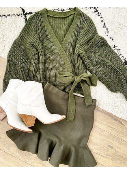 LUREX DANA WRAP CARDIGAN ARMY