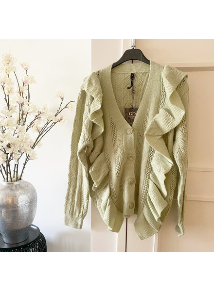 GREEN RUFFLE CARDIGAN 2.0