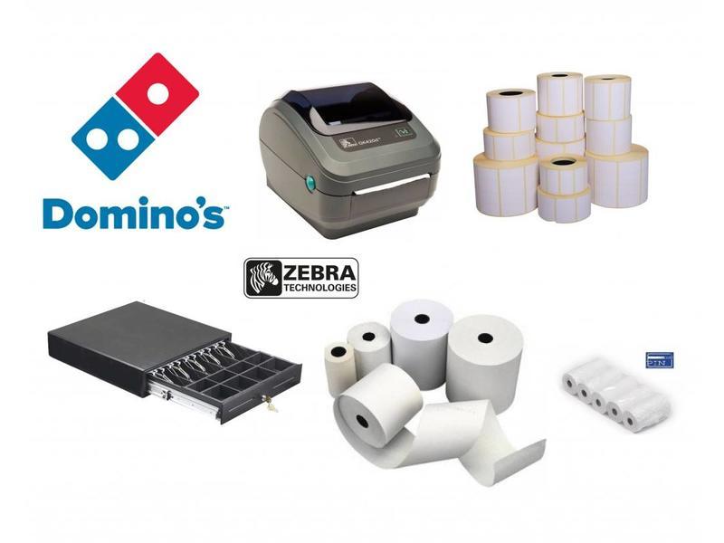 Etiketten voor Domino's Pizza