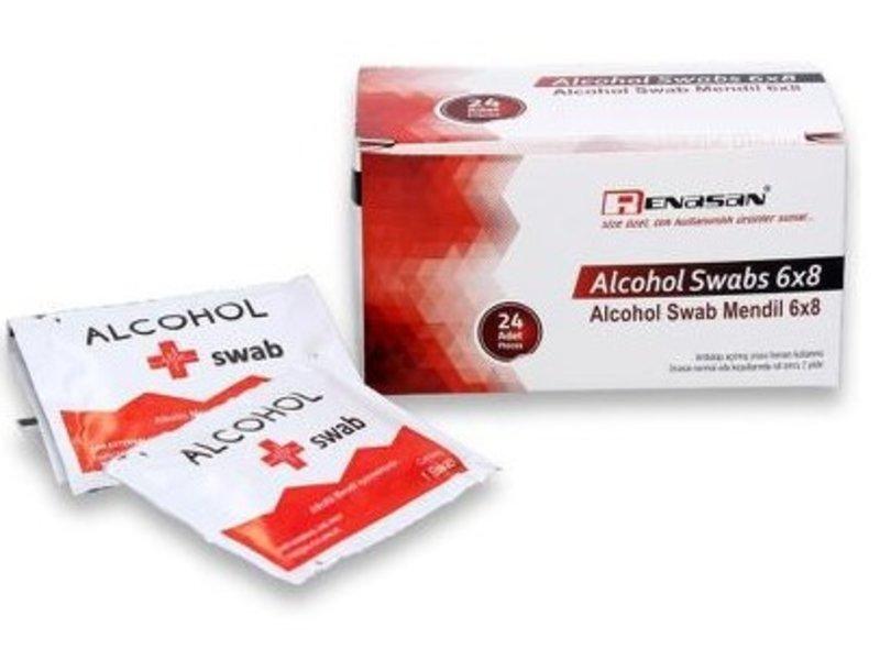 Euro-Label Desinfectie Doekjes - 70% alcohol - 10x20cm - Doos 24 stuks