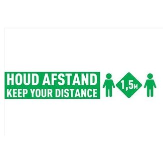 Euro-Label Vloer & Muur sticker - Houd Afstand - (535 x 100mm)