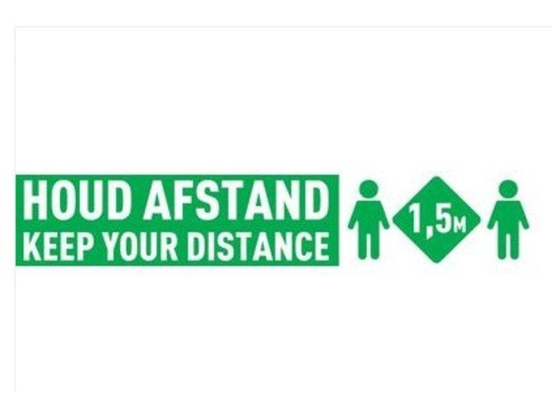 Vloer & Muur sticker - Houd Afstand - (535 x 100mm)
