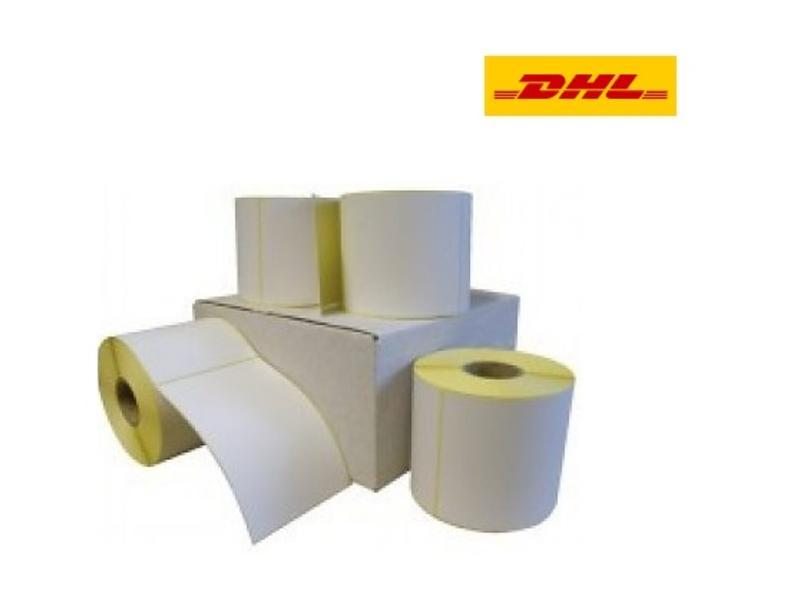 12 rollen DHL verzendetiket 102x210 mm. (kern 25 mm) 300/rol