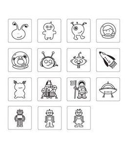 Rico Design 15 stempels + inkt - aliens en robots