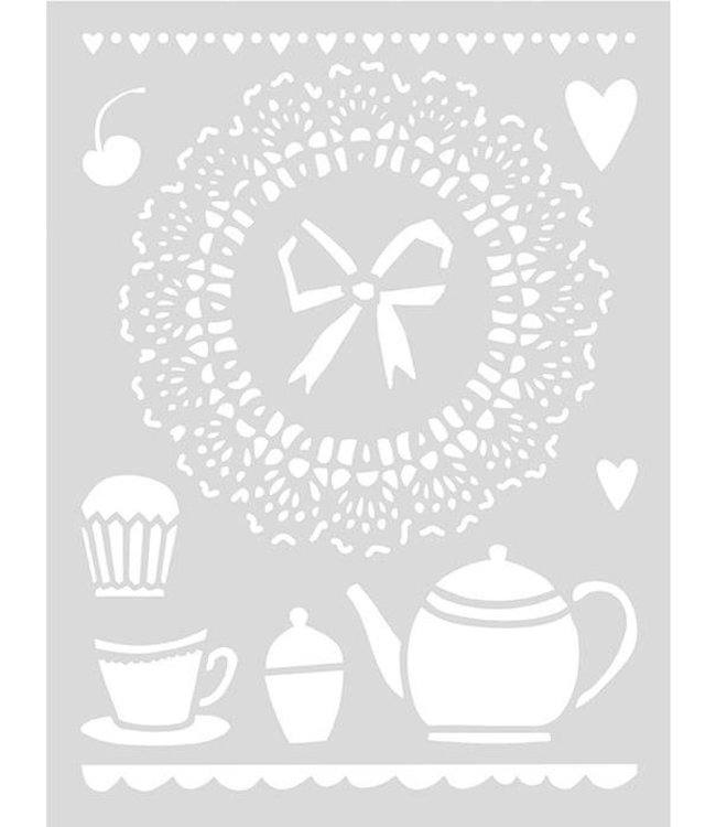 Rico Design Herbruikbaar sjabloon A4 - high tea