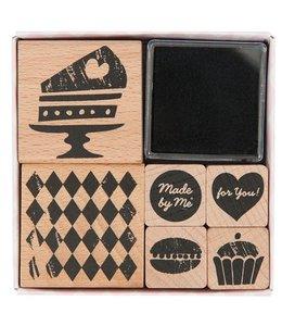 Rico Design 6 Stempels + inkt - bakken