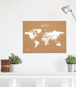 Miss Wood Wereldkaart kurk 60x45cm