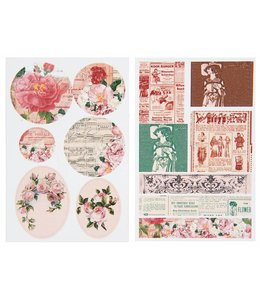 Rico Design Kraft sticker - retro rozen