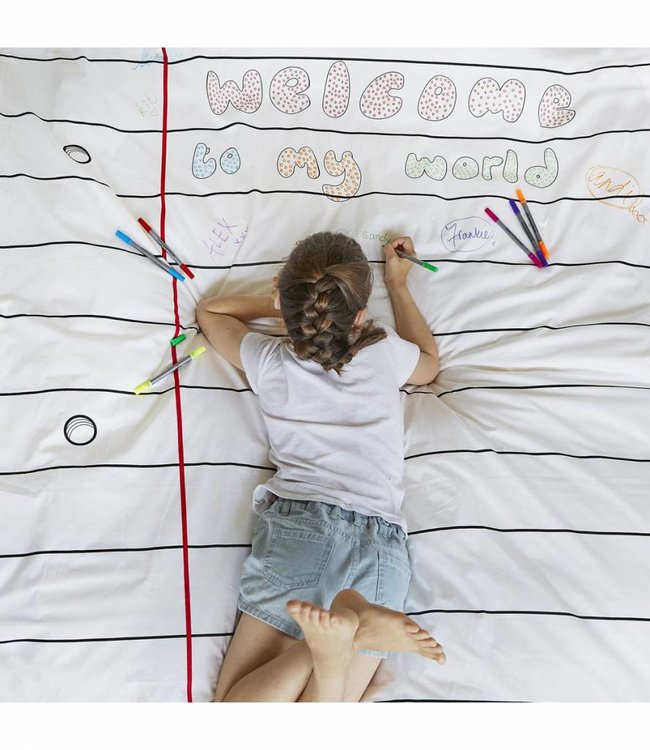 Eat Sleep Doodle Dekbedovertrek 140x200cm