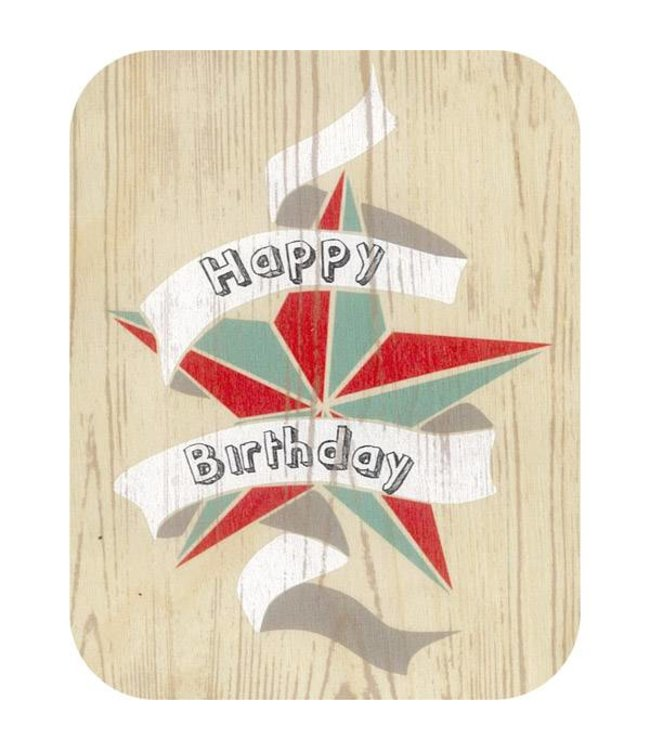 Forever Handmade Cards Houten kaart - Happy Birthday ster