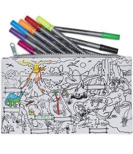 Eat Sleep Doodle Etui met uitwasbare stiften - Dinosaurus
