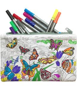 Eat Sleep Doodle Etui met uitwasbare stiften - Vlinders