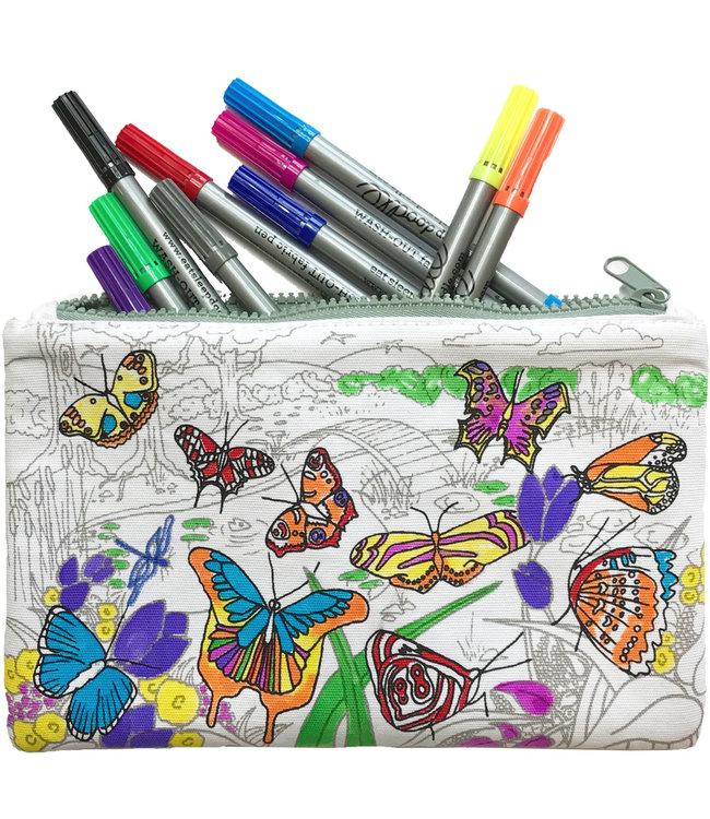 Eat Sleep Doodle Etui met stiften - Vlinders
