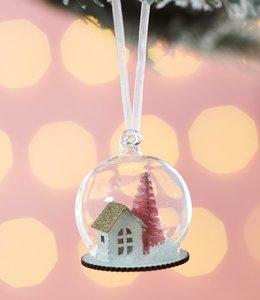 Sass & Belle Kerstboom hanger - Huisje met roze boom