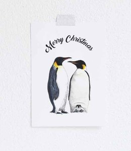 Bintje Postkaart - Merry Christmas Pinguins
