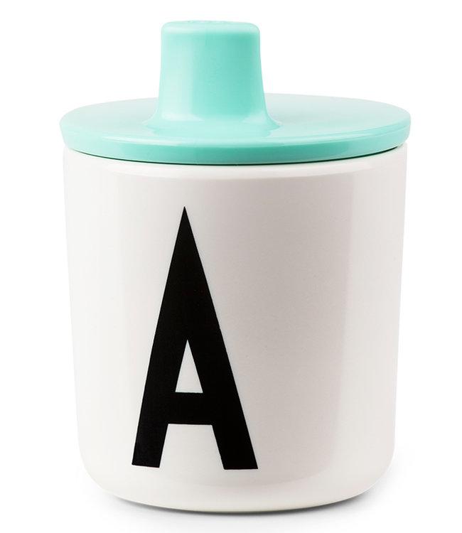 Design Letters Deksel voor melamine beker - Mint/turquoise