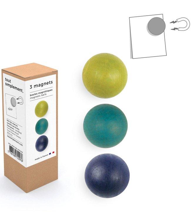 Tout Simplement Magneten set van 3  houten bolletjes - Blauw