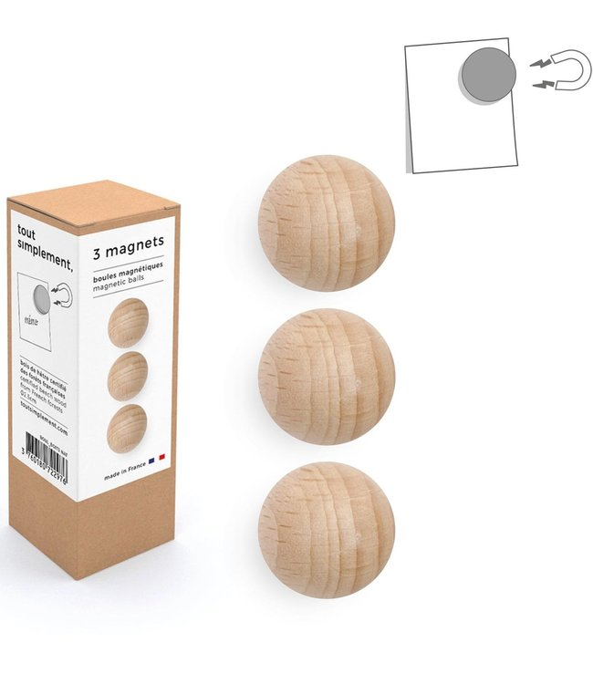 Tout Simplement Magneten set van 3  houten bolletjes - Naturel