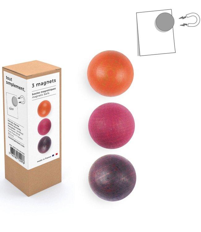 Tout Simplement Magneten set van 3  houten bolletjes - Rood
