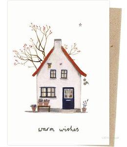 Stokwolf Kerstkaart Huisje bessenboom
