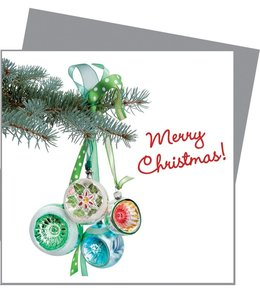 Kerstkaart met raamsticker - Aqua retro kerst