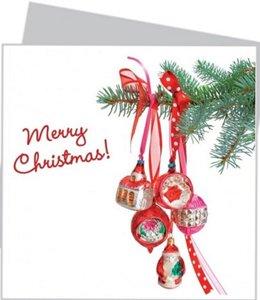 Kerstkaart met raamsticker - Rode retro kerst