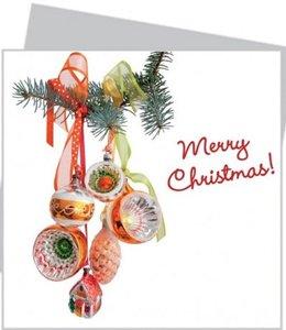 Kerstkaart met raamsticker - Gouden retro kerst