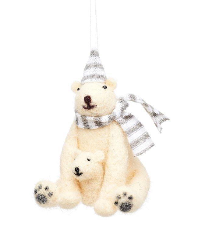 Sass & Belle Kerstboomhanger vilt - Ijsbeer met baby