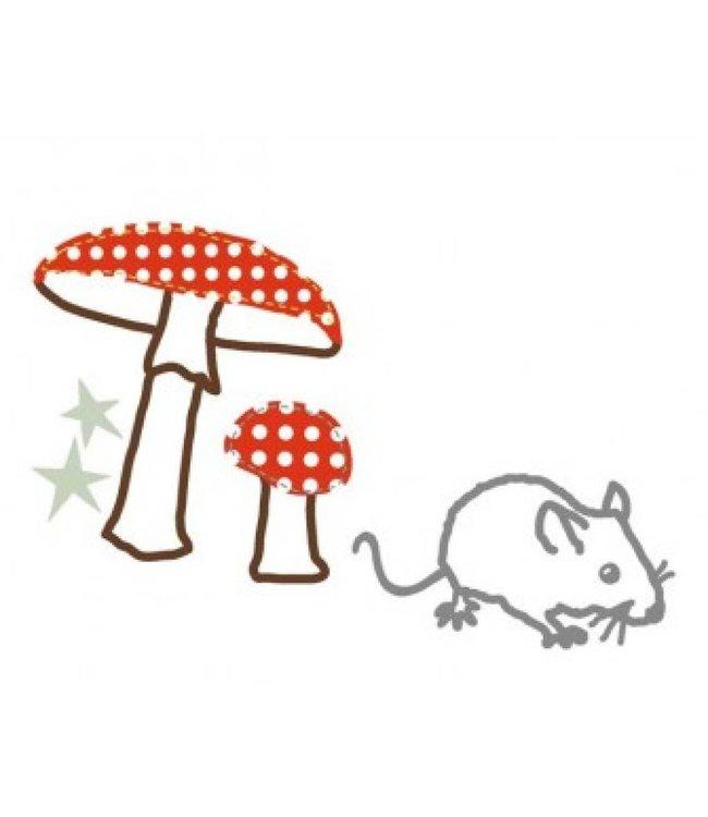 Mimi-lou Strijkapplicatie - Muis en paddestoel