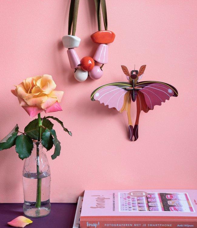Studio ROOF Bouwpakket klein - Roze komeetstaartvlinder