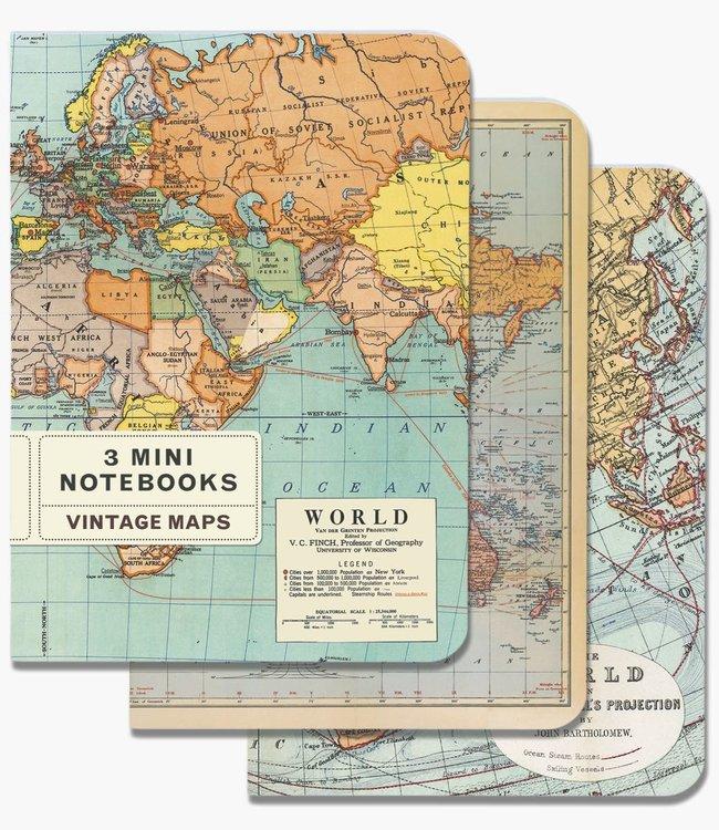 Cavallini & Co Pocket noteboekjes set van 3 - Wereldkaart