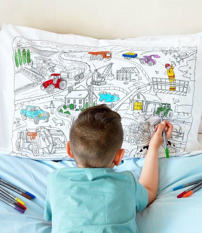 Eat Sleep Doodle Kussensloop met 10 stiften - Auto's