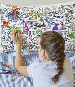 Eat Sleep Doodle Kussensloop met 10 stiften - Dinosaurus