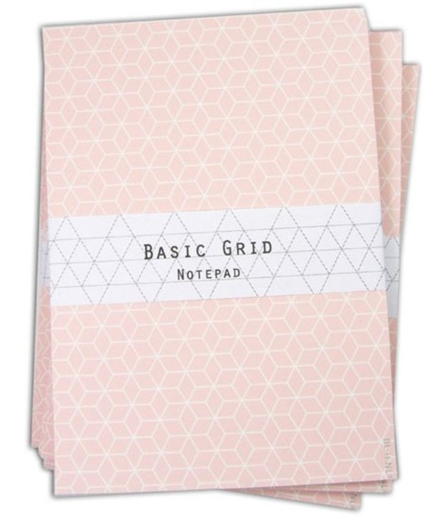 Bl-ij Notitieblok Basic grid - roze