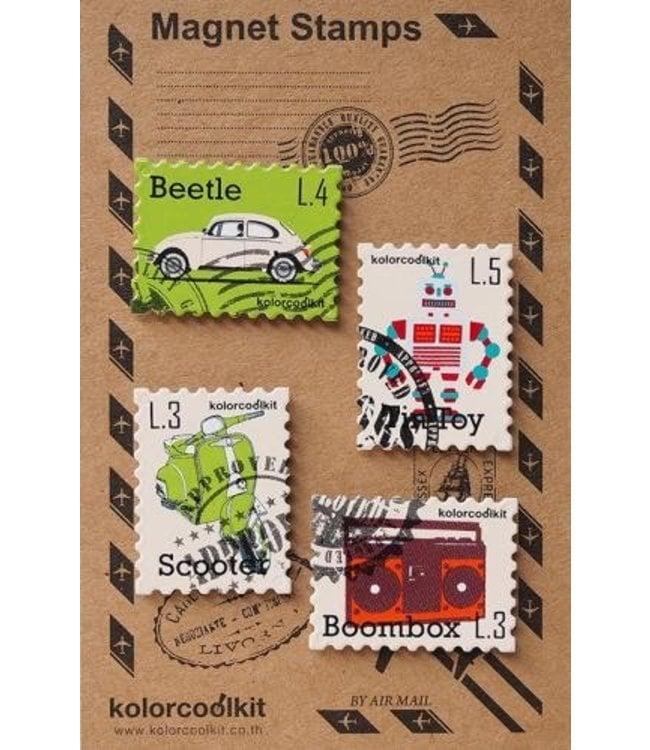 Magneten set - Postzegel retro
