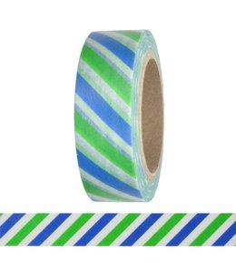 StudioZomooi Streepjes tape - groen wit blauw