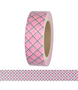 StudioZomooi Ruitjes tape - roze zwart wit