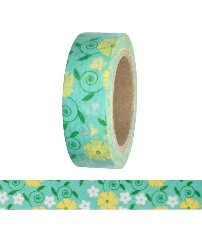 StudioZomooi Bloemen tape - turquoise geel wit