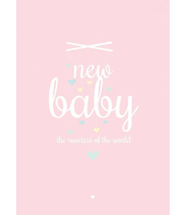 Petite Louise Postkaart - New baby roze