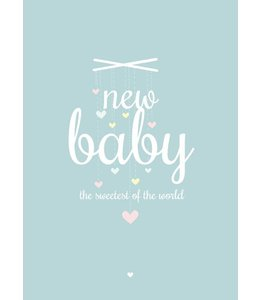 Petite Louise Postkaart - New baby blauw