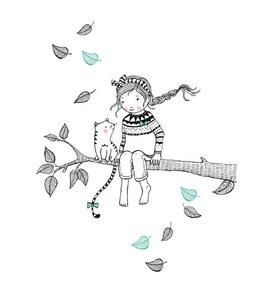 Petite Louise Postkaart - Meisje op de tak