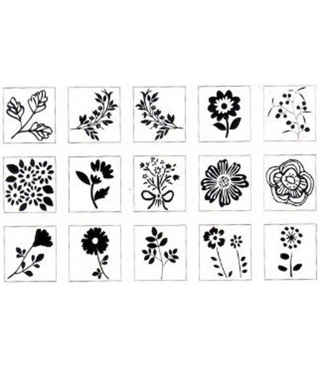Rico Design 15 Bloemenstempels + inkt