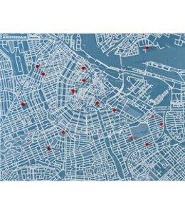 Pinmap Amsterdam - Blauw - 80x100 cm